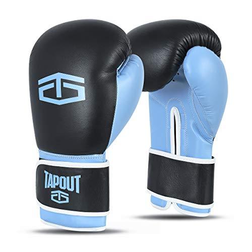 Tapout Guantes Boxeo Hombre Cuero Training Sparring Destroyer (Azul Negro, 14 oz)