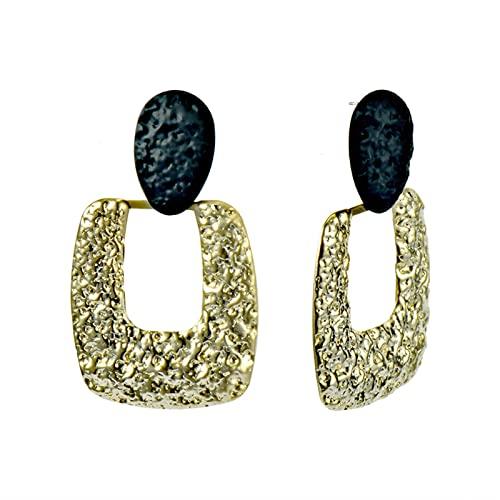 HYK Orecchini a perno in argento S925, placcati in oro 14 k, con ago in metallo esagerato, per donne e ragazze, colore: oro