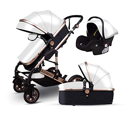 Anti-Shock Luxury Baby Stroller 3 in 1,Babyfond Convertible Bassinet to Toddler Stroller,Reinforced Frame for Safety,Vista Pram,Quick Fold Baby Carriage (White PU)