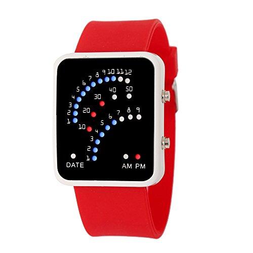 VECOLE Fitness Uhr Einzigartige Multicolor LED Sportuhr Silikonarmband Fitness Uhr(rot)
