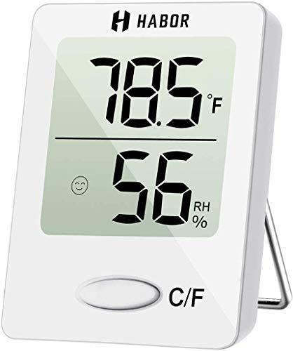 Habor Luftfeuchtigkeitsmessgerät Thermometer Innen Hydrometer Feuchtigkeit Digital mit Hohen Genauigkeit, Geeignet für Babyraum, Wohnzimmer, Büro Schwarz, Weiß, 1 Pack