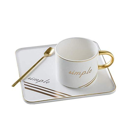 Primst Kaffeetasse und quadratisches Untertassen-Set britische grüne rote Teetasse für Restaurant Café und Familienfeier (200 ml) (Pure White)