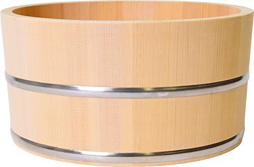 木曽工芸 湯おけ 日本製 木製 さわら 丸湯桶 ステンレスタガ (小) 22.5cm