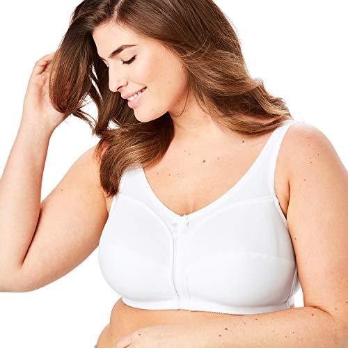 Comfort Choice Women's Plus Size Cotton Wireless Bra - 54 G, White