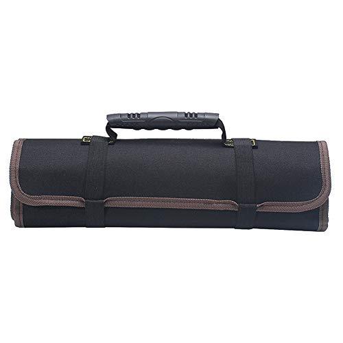 DaoRier Werkzeugetasche Wasserdichtes 600D Oxford Tuch Werkzeugrolltasche mit Kunststoffgriff für Elektriker Wartungstechniker (Schwarz)