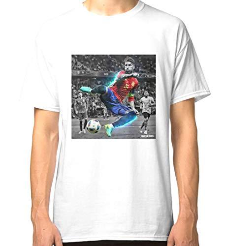 HVIERO1707a601 PA - Camisa Negro Sergio Ramos España Euro 2016 Classic Camiseta para mí S