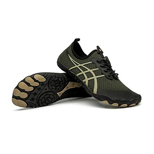 YQQMC Upstream Zapatos de agua para playa, buceo, natación, hombres y mujeres, antideslizantes, anticorte, secado rápido, transpirables, (color: verde, tamaño: 42EU)