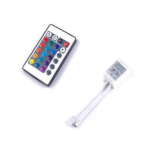 ALED LIGHT® 24 Touches Télécommande IR et Blanc IR Contrôleur Pour RGB LED Bande 3528 SMD Ruban Lumineuse