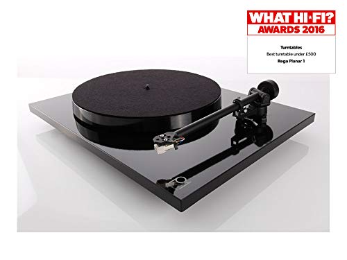Rega Planar 1 (Modelo 2016) High End – Tocadiscos con fonocaptor de carbón MM, color negro