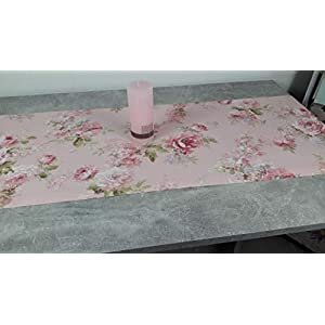 """ASTRA Tischläufer""""Englische Rosen"""" Dekostoff, Mischgewebe, Rosenmuster, hell-rosa/grün, 132/42 cm"""