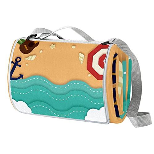 Beach Elements Große Picknickdecke mit Anker-Motiv, wasserabweisend, handliche Matte, ideal für Strand und Camping, auf Gras, Frühling und Sommer