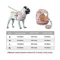 反射型小型犬用ハーネスおよびリーシュセットソフトミディアム犬用ソフト通気性チワワ子犬ハーネスベストリード-Pink-XL