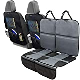 Car Seat Protector Set with Tablet Holder Kick Mat Cover (4 Pack) Thickest Padding - 2 Sets of Car Seat...