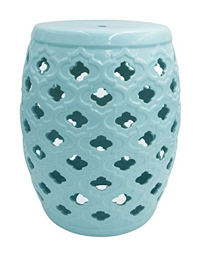 "Amazon Brand – Ravenna Home Moroccan-Pattern Ceramic Garden Stool or Side Table, 16""H, Light Blue"