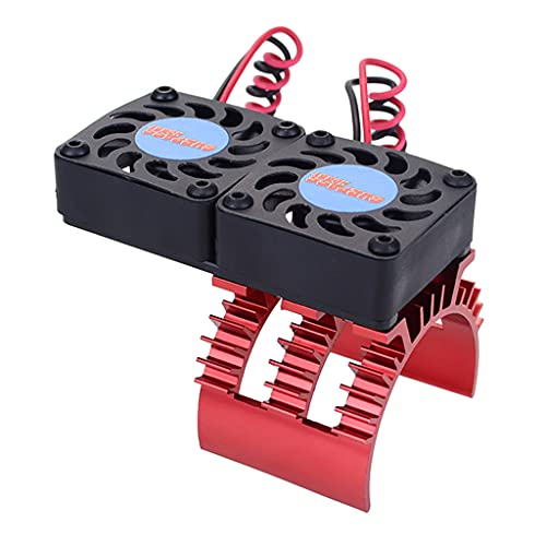 GLASSNOBLE RC Double Cooling Fan Aluminum Alloy RC Motor Heat Sink for 1/10 RC Car Durable Modified Vehicle Supplies Accessories Red