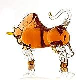 GJX Juego de Jarras y Vasos de Whisky del Regalo de Whisky Licor del Vino Decanter Bull Estilo 1000ml Personalidad Animal Jarra Alta de borosilicato de Plomo Libre de Cristal