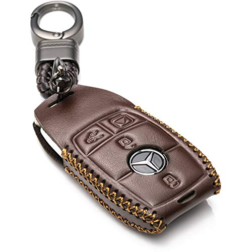 Vitodeco Genuine Leather Smart Key Fob Case with Leather Key Strap Compatible for 2017-2021 Mercedes-Benz A, C, E, S, CLA, CLS, GLA, GLB, GLC, GLE, GLS, G Glass (4-Button, Brown)