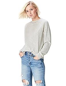 find. Sweatshirt Damen meliert, aus Velours, Grau (Light Grey Marl), 38 (Herstellergröße: Medium)