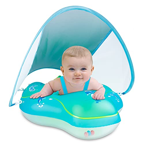 SEIRMEP Baby Swimming Float Inflatable Baby Pool FloatRingOver for Age of 3-36 Months with Removable Sun Protection Canopy, Safety Bottom seat Support (L)