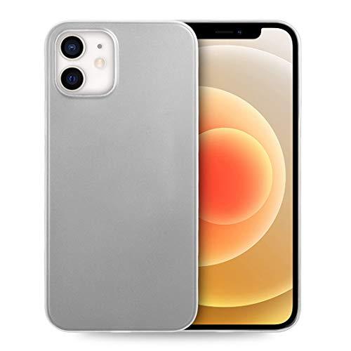 doupi UltraSlim Hülle kompatibel für iPhone 12 / iPhone 12 Pro (6,1 Zoll), Ultra Dünn Fein Matt Handyhülle Cover Bumper Schutz Schale Hard Hülle Taschenschutz Design Schutzhülle, weiß