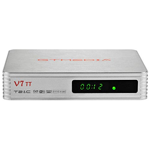 GT Media V7 TT DVB-T/T2 Decodificador TDT DVB-C Receptor de TV por Terrestre Cable H.265 10bit Full HD 1080p con Antena WiFi USB / Ethernet, Soporte Youtube CCcam EPG Multi-PLP