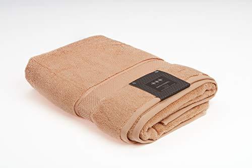 TowelToGau - Toalla de baño de Rizo 70 x 140, 600 g/m2, 100% algodón, Color Almendra Helado y Beige