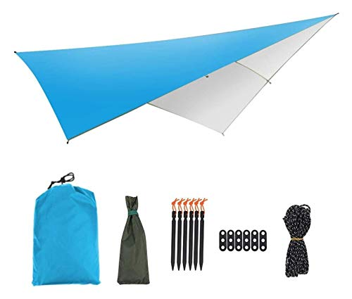 WERTYG Hammock Outdoor Tent Sunshade, Portable Hammock Rain Fly Waterproof Tent Tarp Camping Backpacking Tarp for Garden Yard Camping (Size:290x290CM; Color:Blue) (Color : Blue, Size : 290x290CM)
