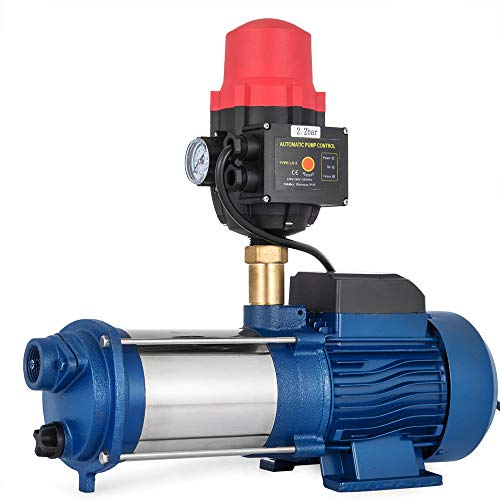 Kreiselpumpe Hauswasserwerk Gartenpumpe 2200 Watt 9600 L/H 5,5 bar Mit Drucksch Wasserpumpe Jetpumpe Hauswasserwerk