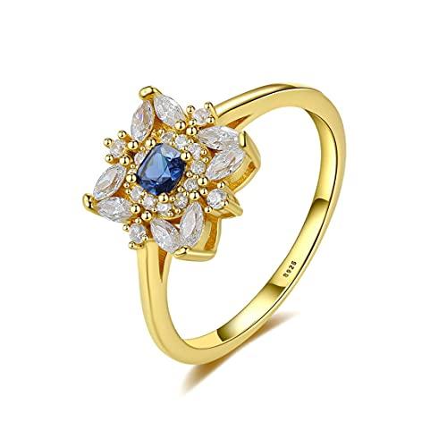 #N/D Students Joker Anillos de plata esterlina S925 Anillos de diamantes preciosos anillos de zafiro artificial en forma de flor