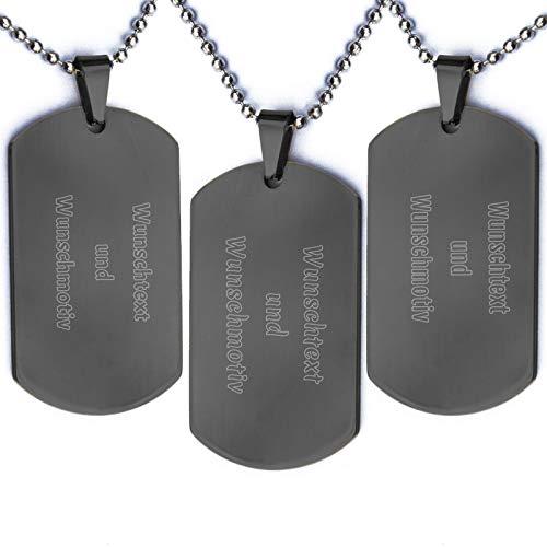 absenda Beidseitige Wunschgravur Dog Tag Anhänger aus Edelstahl   Gold Schwarz Silber   Army Militär Erkennungsmarke   Inkl. Halskette Kugelkette   personalisiert (Schwarz)