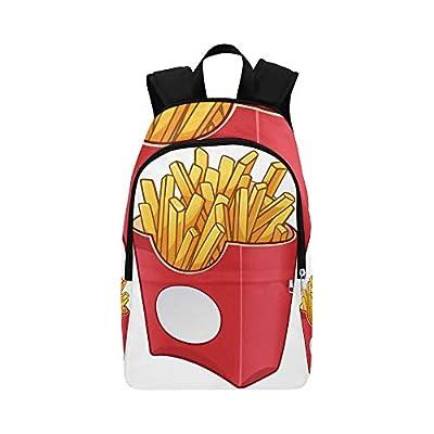 Crossbody Sac de Bande Dessinée Fast Food Frites Durables Résistant À l'eau Classique Jour Sac À Dos pour Hommes Hommes College Sac Jeunes Daypack Casual Tote Bag