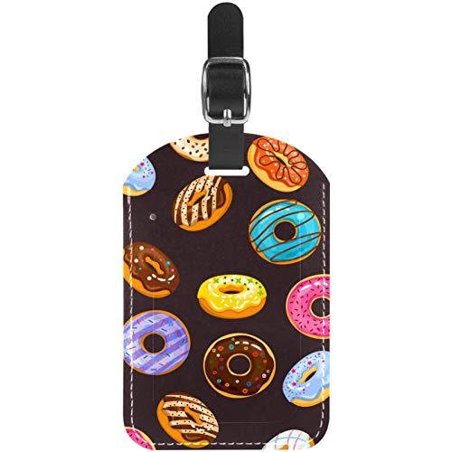 Luggage Tags Sprinkles and Chocolate Donuts Leather Travel Suitcase Labels 1 Packs