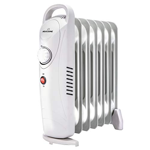 HEATZONE - 700W Oil Heater Mini Space Heater with Overheat Protection, Adjustable Thermostat - Radiant Heater for Home & Office, Safety Shut-Off Quiet Portable Radiant Heater Heater Oil Space