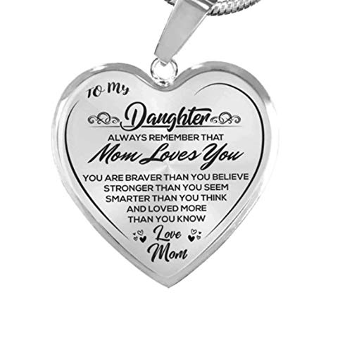 Heart Necklace Sterling Silver - Daughter Mom Love You, Unique Gift Party to My Daughter, Cubic Zirconia Moon Heart Pendant Birthday Gift for Women Girls Forver Love Heart Pendant Necklace (Silver)