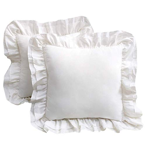 TEALP Kissenbezüge Vintage Design 100% Baumwolle Kissenbezug mit unsichtbarem Reißverschluss Reinweiß 2 Stück Home Decor Kissenbezug mit Shabby Rüschen 45x45cm