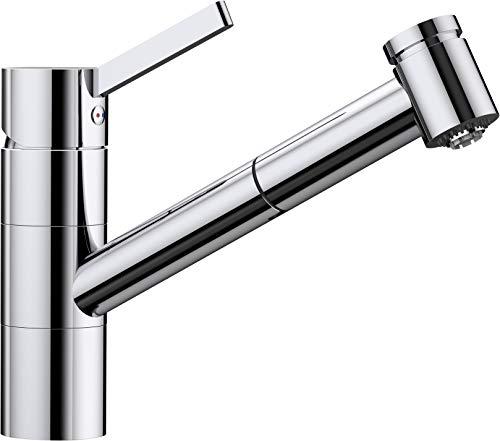 BLANCO Tivo-S, Küchenarmatur - Einhebelmischer, mit ausziehbarer Brause, Wasserhahn für die Küche, Oberfläche Chrom, Niederdruck, 1 Stück, 518424