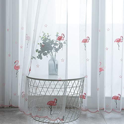 Flamingo Transparent Vorhang Tulle Gardinen Kinderzimmer Design für Schlafzimmer Wohnzimmer Küche Home Decoration 2er Set,White,W175xL140cm