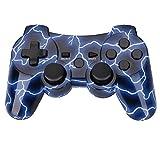 Vococal Manette pour PS3,Wireless Manette pour Dualshock 3,Manette de Jeu sans Fil avec Double Vibration pour PS3 Playstation-Motif de Foudre Bleu