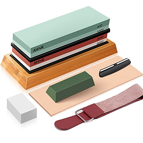 Knife Sharpening Stone Set – Dual Grit Waterstone 400/1000 3000/8000, AHNR Whetstone Knife Sharpener Kit with Leather Strop, Polishing Compound, Flattening Stone, Non-slip Bamboo Base & Angle Guide