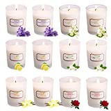 Scented Candles Gift Set, Ahyiyou 12 x 2.5 Oz Portable Glass Natural Soy Wax Candles, Strongly Fragrance Essential Oils Aromatherapy Candles for Stress Relief Home Decoration