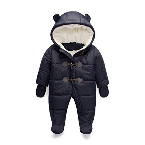 TeenMiro Baby Winter Jumpsuit Newborn Fleece Romper Infant Snowsuit Pattern 9-12 Months Deep Blue
