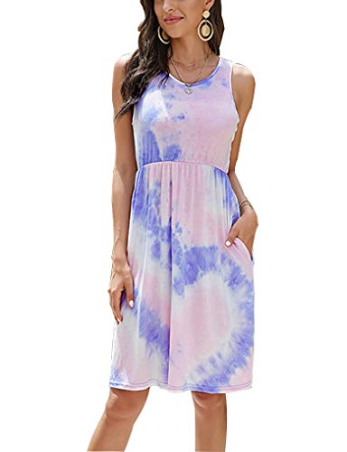 OURS Womens Boho Casual Midi Sleeveless Tie Dye Dress with Pockets M Purple