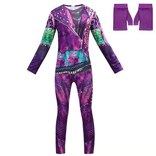 Alisoya Disfraz de Halloween Cosplay Audrey/Mal/Evie/Jay/Carlos Cosplay Jumpsuit Set 3D Vestido Impreso Chica Disfraz de Halloween para Niños