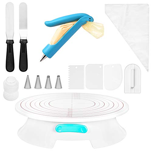 Cake Decorating Kit For Beginners - 30pc+ Cake Decorating Supplies Kit - Non Slip Rotating Cake Turntable that Locks In Place, and other Cake Tools - Cake Decorating Tools For Beginners