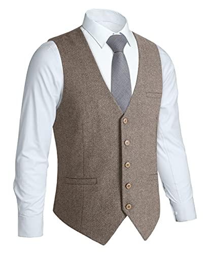 HISDERN Hommes Formelle Tweed Gilets Mariage Laine Gilet Chevron Gilets Sans Manche Casual de Fete Robe Costume Gilet pour Homme Brun XL