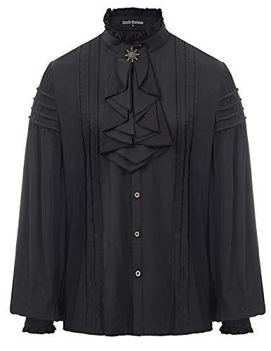Mittelalterliches Gothic Langarm-Rüsche Lace-Up Front Shirt für Herren Schwarz Größe M