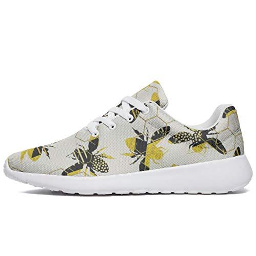 Zapatillas de correr para hombre y mujer, con diseño de abejas impresas, zapatillas de correr modernas para caminar, caminar, entrenar, zapatillas de deporte