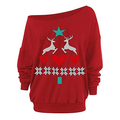 SEEGOU Jersey de Navidad para mujer, nia, con capucha, diseo navideo de reno y mueco de nieve, con hombros descubiertos, de manga larga Af-rot L