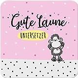Sheepworld - 46680 - Untersetzer, Gute Laune Untersetzer, Kork, 9,5cm x 9,5cm