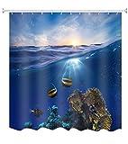 A.Monamour Blau Ozean Meer Marine Leben Koralle Fisch Blau Himmel Hell Sonnenschein Landschaft Bild Drucken Textil Lang Verdicken Duschen Vorhang 165X180 cm / 65